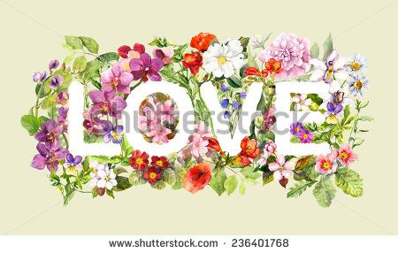 stock-photo-flowers-in-text-love-retro-floral-watercolor-vintage-letter-design-236401768