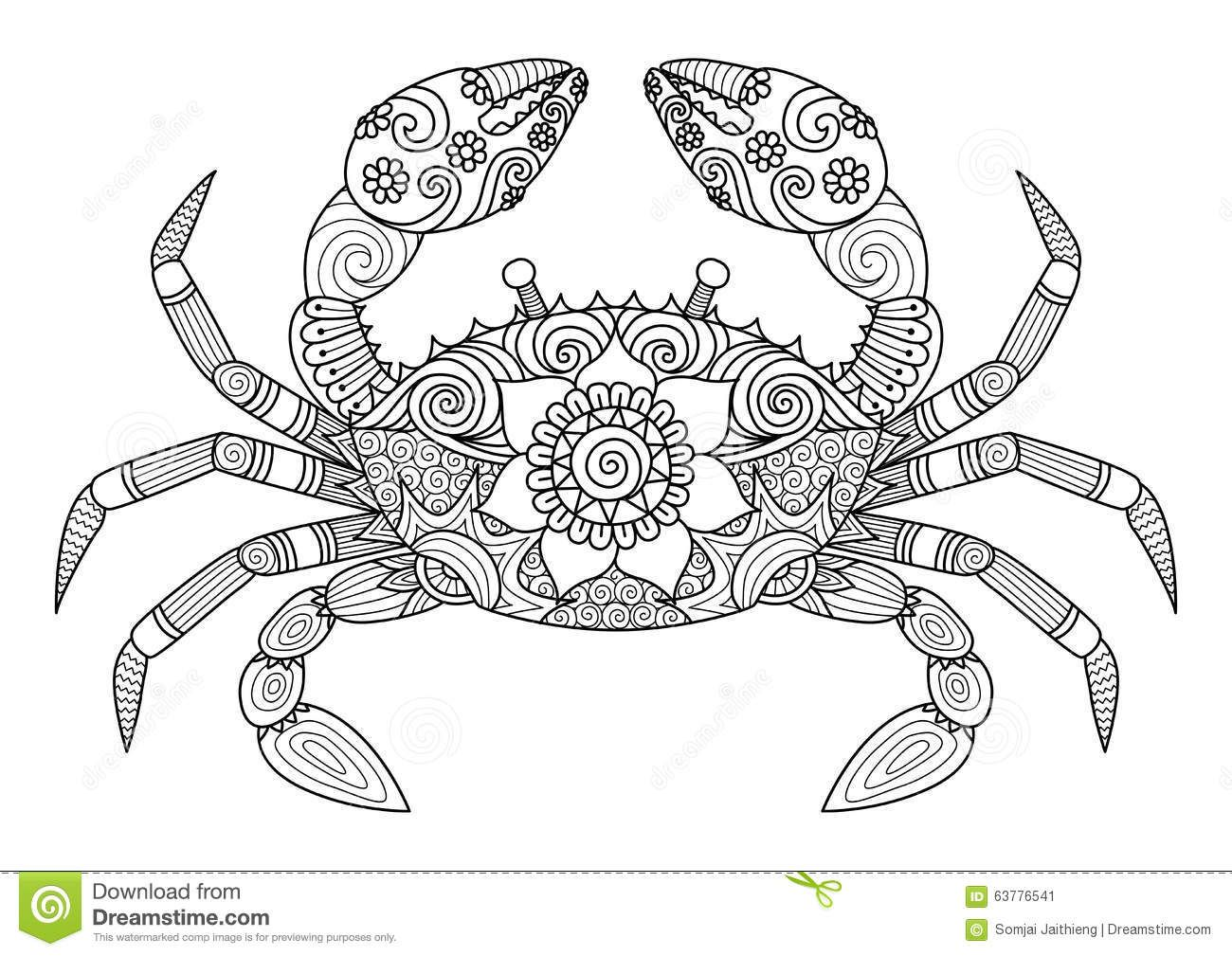 hand drawn crab zentangle style for coloring book for stock