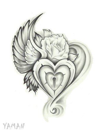 winged heart. 1/2 of what I\'m looking for! | Tattoos | Pinterest