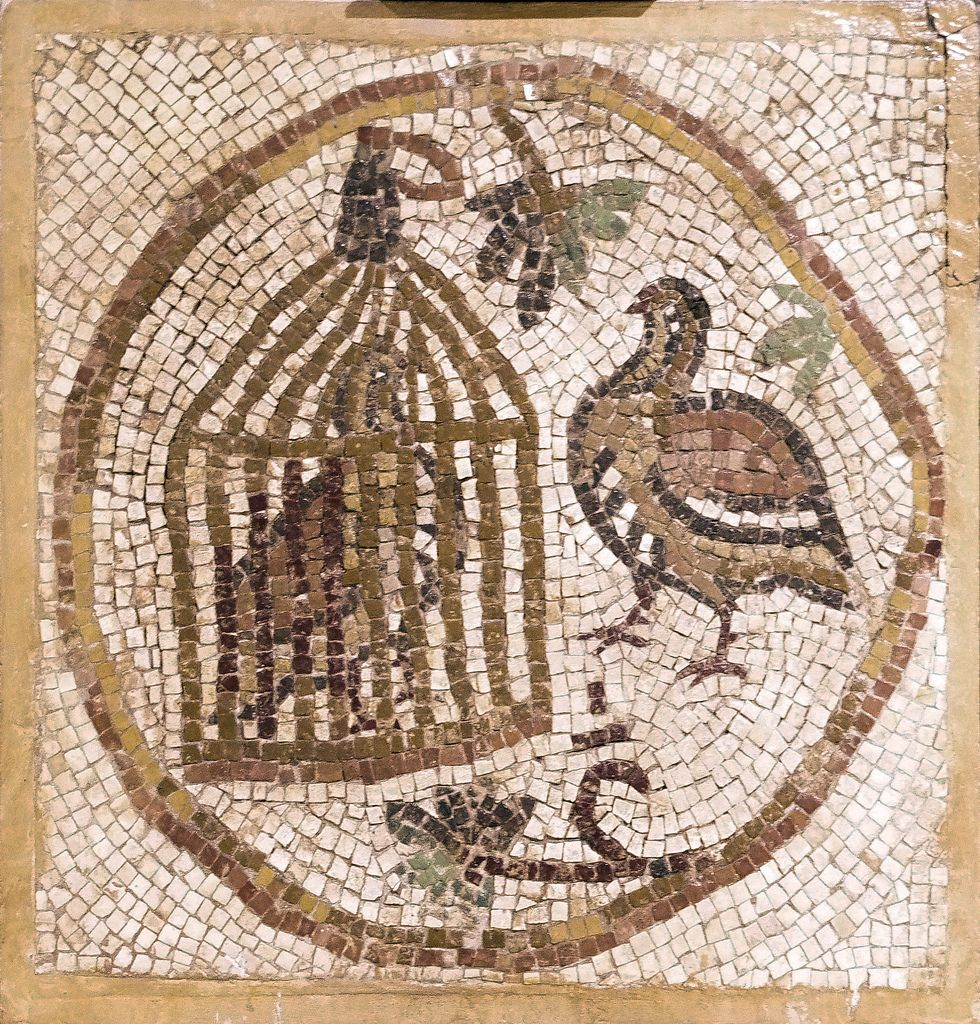 6th century mosaic found in madaba jordan one symbolic for Mosaic painting meaning