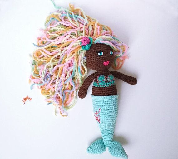 Mermaid girl gift african american crochet unique mermaid doll mermaid girl gift african american crochet unique mermaid doll personalized doll gift mermaid baby shower first mothers day birthday nursery mermaid dolls negle Choice Image