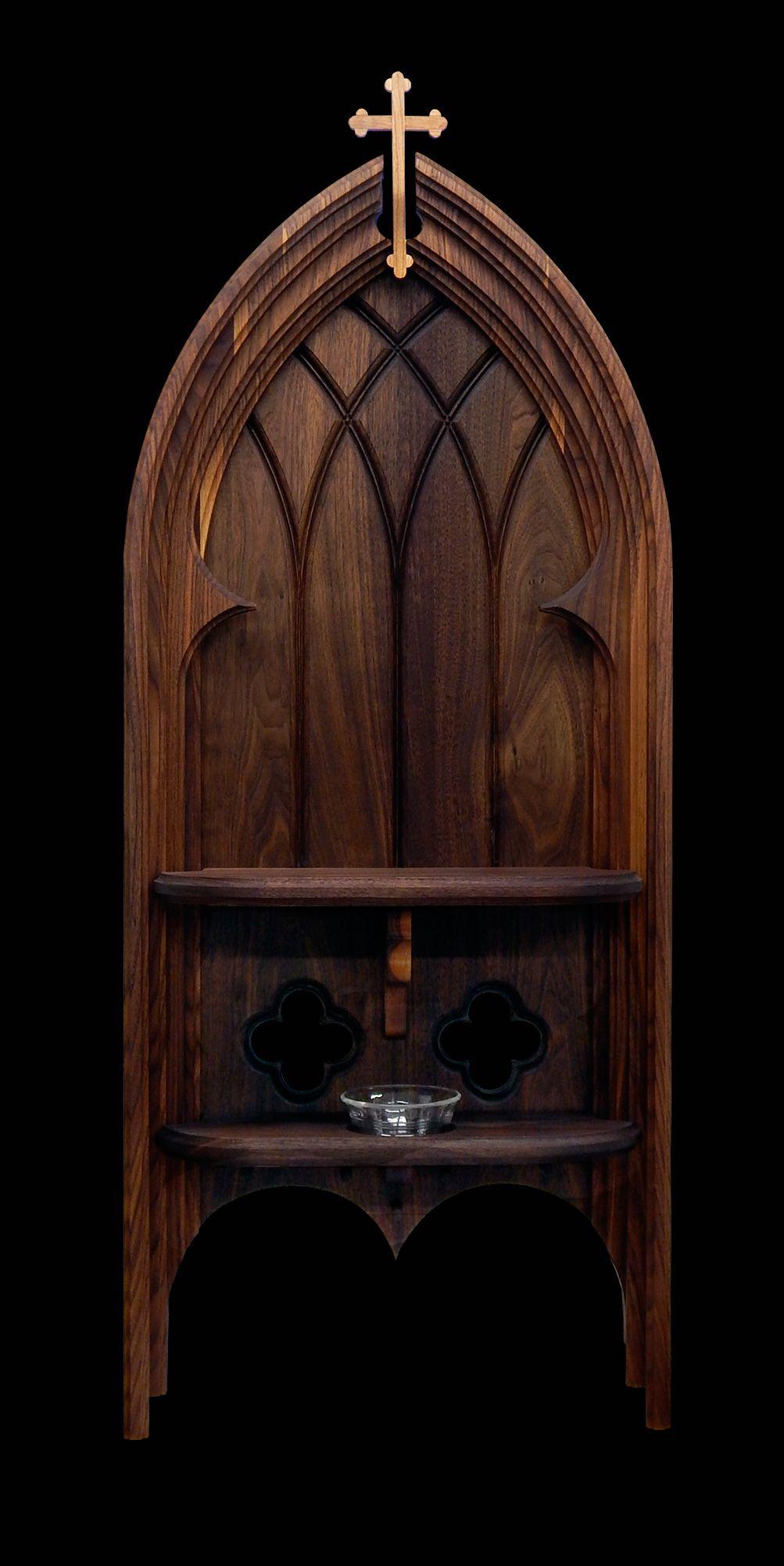 Catholic Home Altar In Black Walnut With Black Cherry