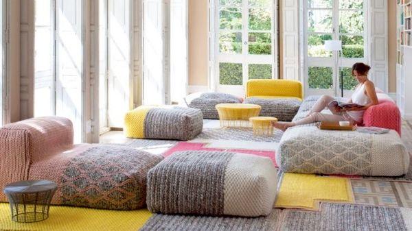 Wohnzimmer Design modern-Sitzmöbel Schafwolle-Wärme Gemütlichkeit - innenarchitektur design modern wohnzimmer