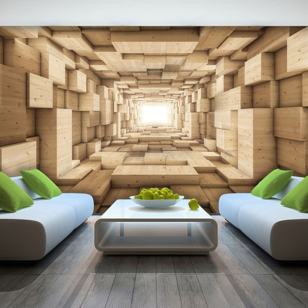 Details About Photo Wallpaper Wooden 3d Effect Abstract Tunnel