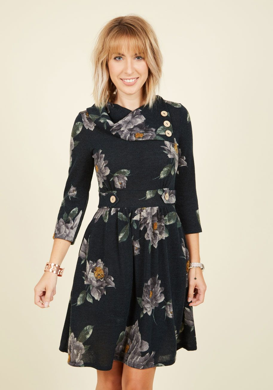 Coach tour aline dress in forest floral sleeves modcloth