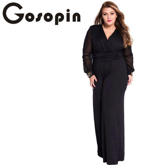 d7ce45f1f9ba ... jumpsuit black Suppliers  Gosopin Hot Selling Woman Wide Leg Elegant jumpsuits  Black Embellished Cuffs Long Mesh Sleeves Jumpsuit Combinaison Femme