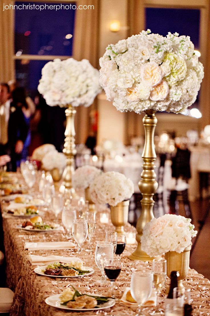 Ivory Blush Gold Wedding Not The Tall Centerpiece Smaller Cers Lower To Table 3 Or 4 At Various Heights
