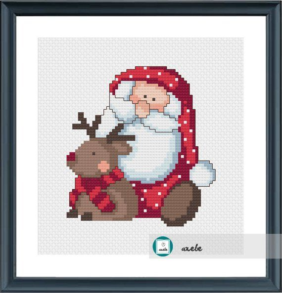 Santa In The Snow~counted cross stitch pattern #1505~Holidays Christmas Chart