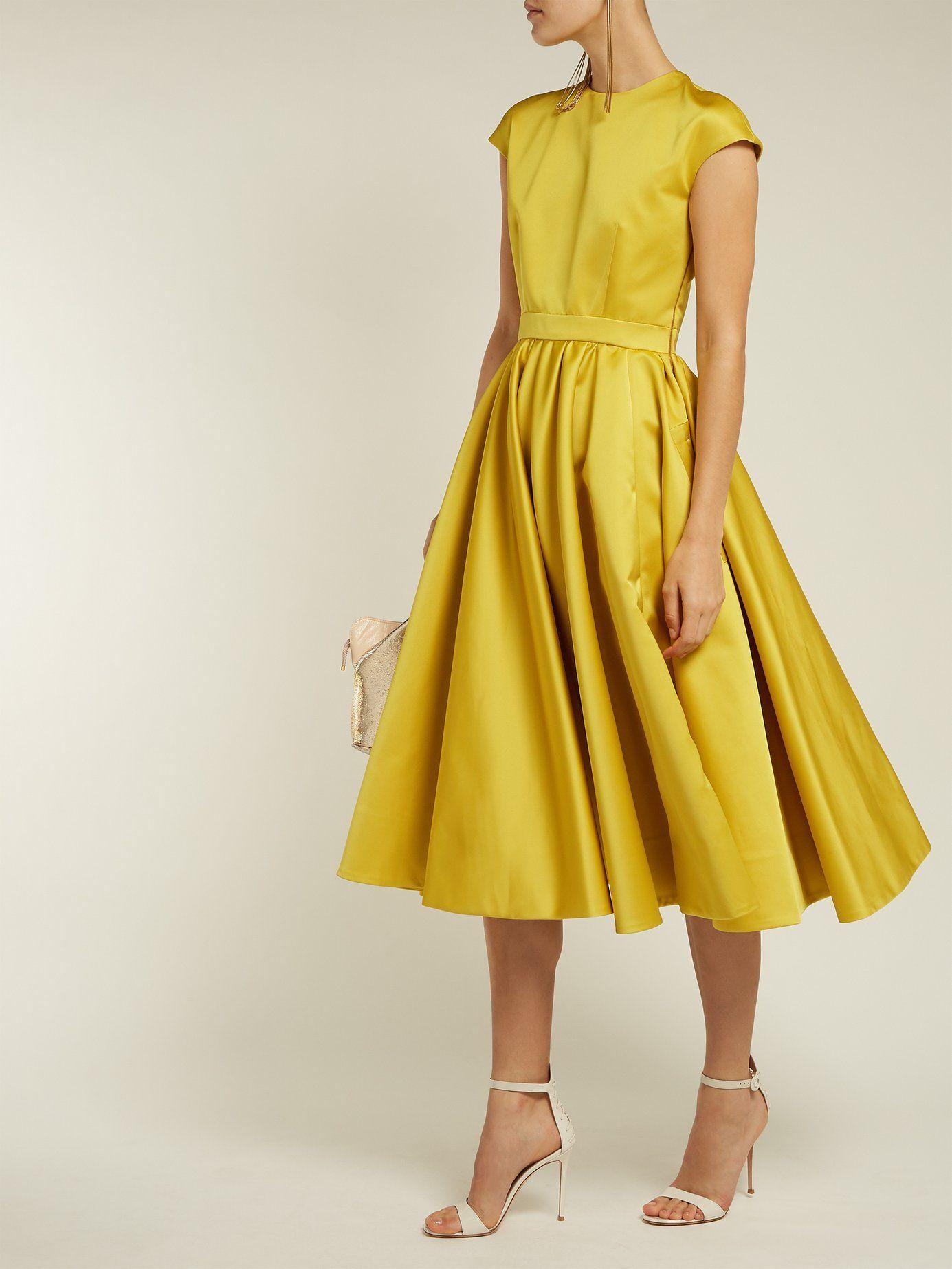 Rochas Duchess Satin Midi Bumblebee Yellow Dress We Select Dresses Yellow Dress Satin Midi Dress Select Dress [ 1846 x 1385 Pixel ]