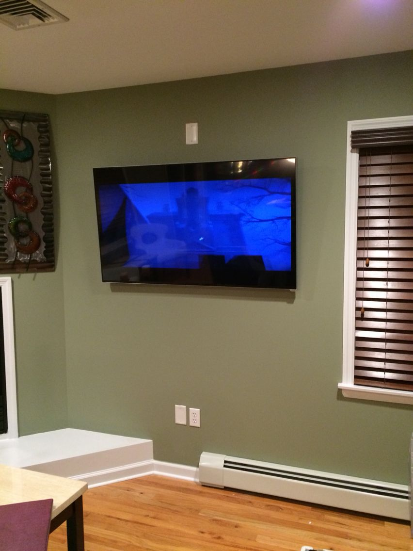 55 vizio smart tv on a tilt mount in wall hidden wires for Samsung smart tv living room
