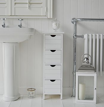 Dorset Narrow White Bathroom Storage Furnitue With 4 Drawers