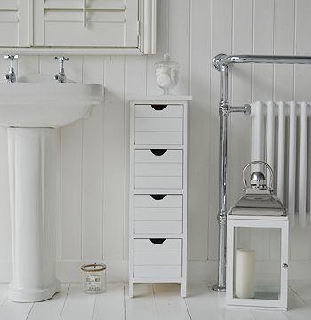 Dorset Narrow White Bathroom Storage Furnitue With 4 Drawers