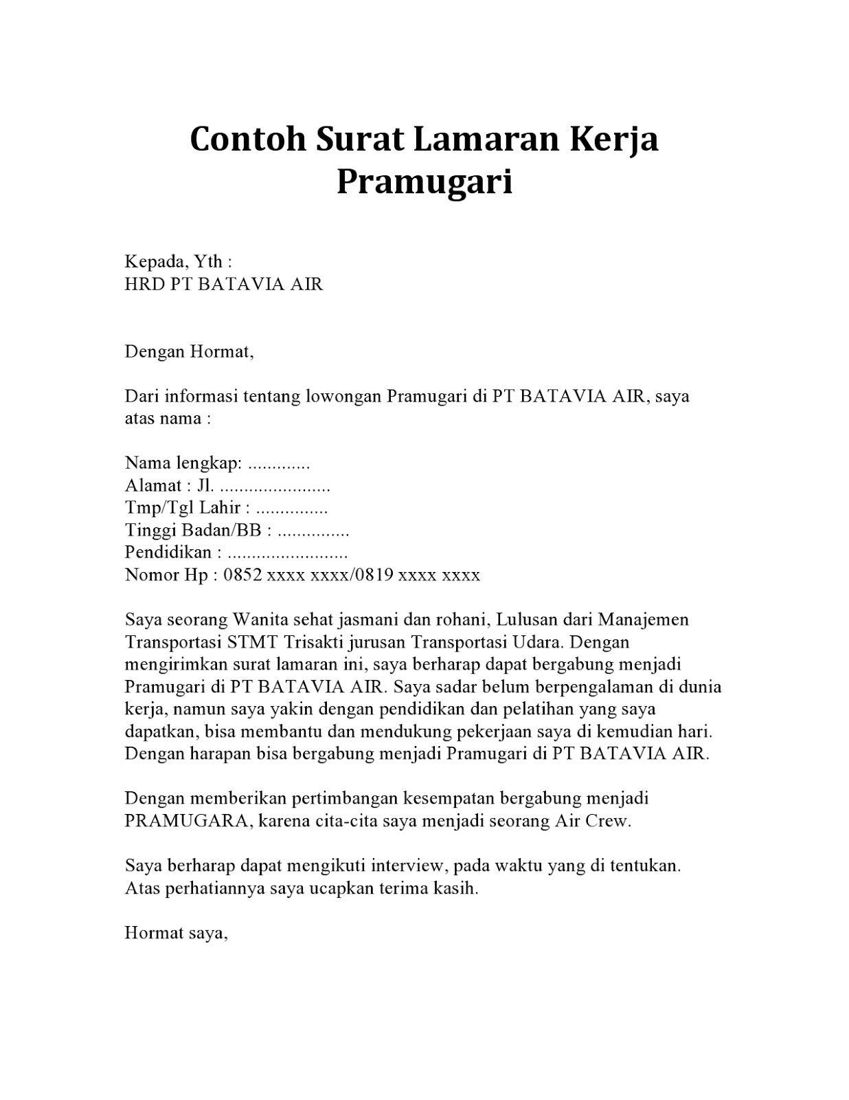Surat Lamaran Kerja Pramugari ben jobs Pramugari, Surat