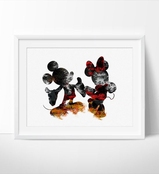 Lovely Disney Wall Art, Mickey U0026 Minnie Poster, Abstract Art, Abstract Painti