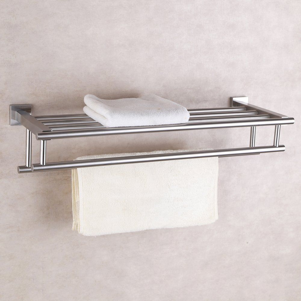 amazoncom kes stainless steel bath towel rack bathroom shelf with double towel bar - Bathroom Accessories Towel Rail
