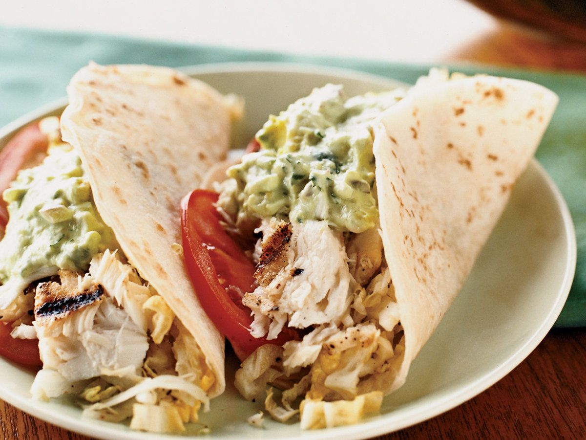 Fish Tacos With Creamy Lime Guacamole And Cabbage Slaw Recipe In
