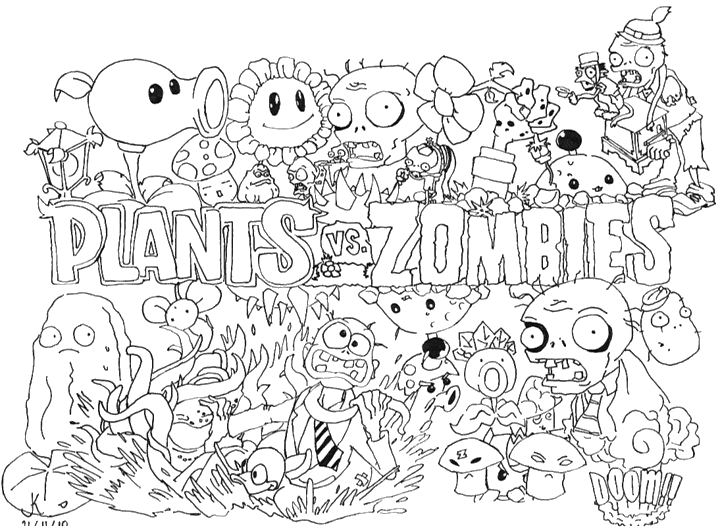 Plants Vs Zombies Coloring Pages For Kids Zombies Colorir Paginas Para Colorir Para Adultos