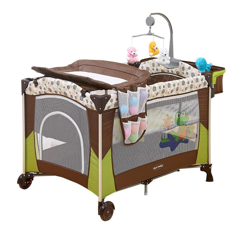 49ffcc71367 Portable Baby Crib Multi functional Folding Baby Bed with Diapers Changing  Table Travel Child - £89.51