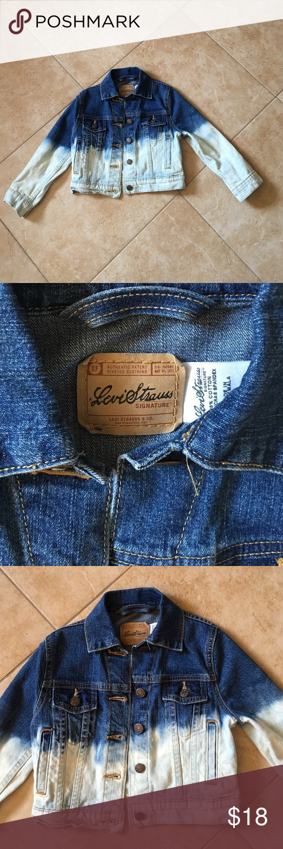 Levi's Jean Jacket Dip Dye Childrens Levi Strauss denim dip dye Jean jacket in size small. Excellent condition. Gently used. Size children small tits approximate 5/6 girls, 4/5 boys. Levi's Jackets & Coats Jean Jackets
