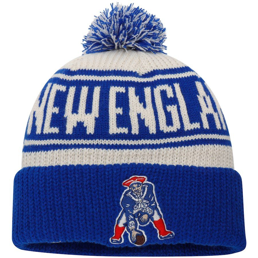 Men s New England Patriots NFL Pro Line by Fanatics Branded Cream Navy True  Classic Z Route Cuffed Knit Hat with Po…  8cc7ec3ee