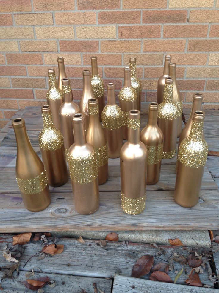 Glitter wine bottle bing images wedding pinterest for Wine bottle ideas for weddings
