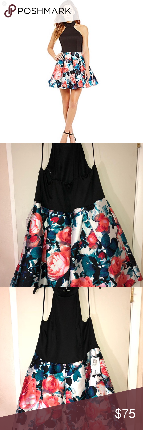 Nwt b darlin black halter floral prom dress nwt floral prom