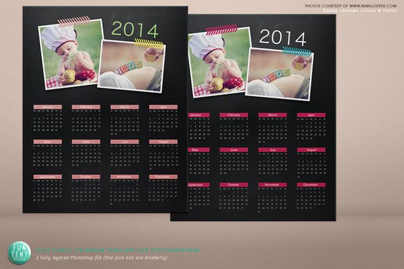 Check out Chalkboard Calendar Psd Template by funtentdesign on ...