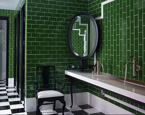 Green Subway Tile At Www Thebrownhouseinteriors Com Green