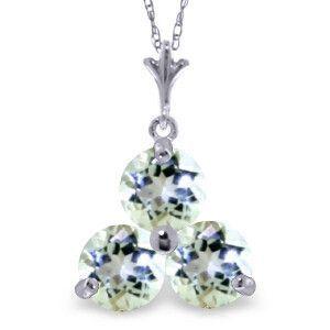 14K Solid White Gold Peoria Aquamarine Necklace - 3167-W
