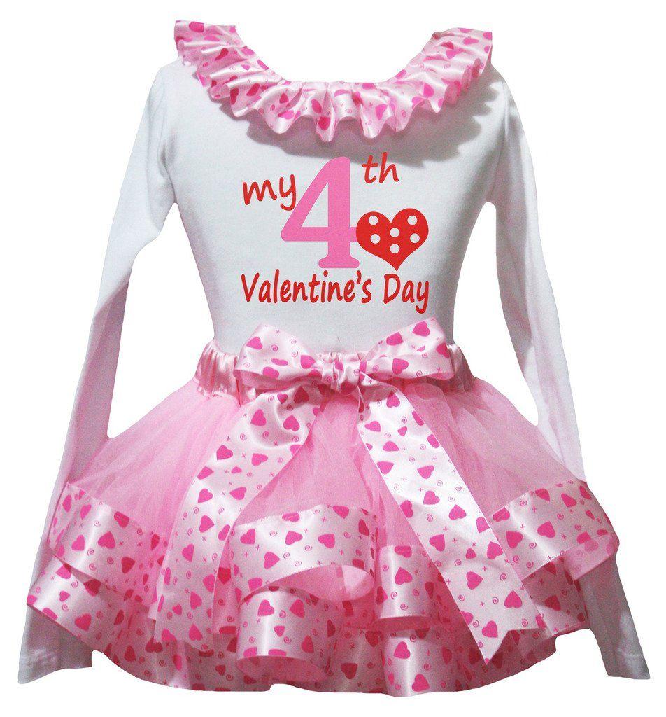 Petitebella my th valentine day white ls shirt pink heart petal
