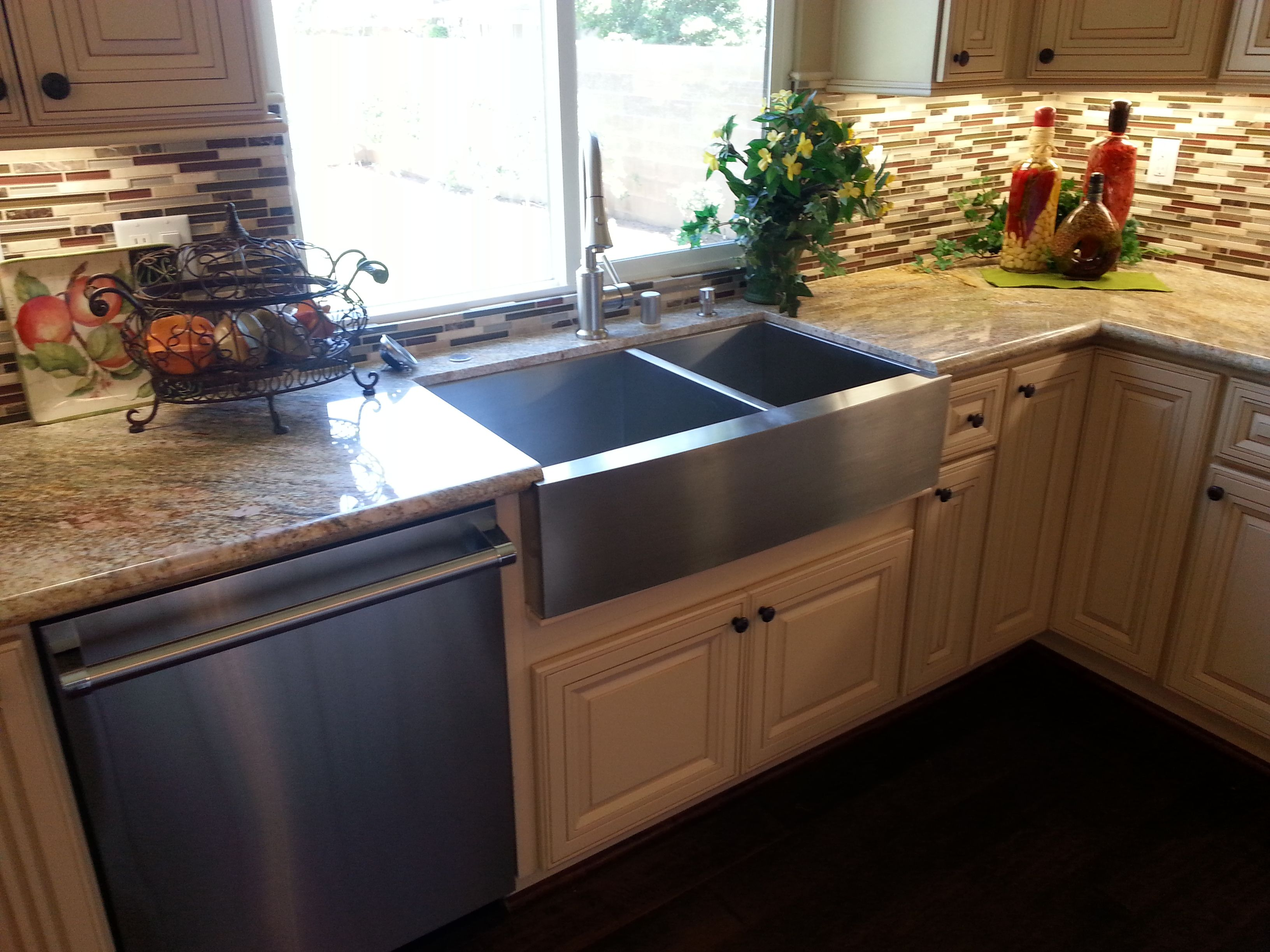 stainless apron sink with antique white