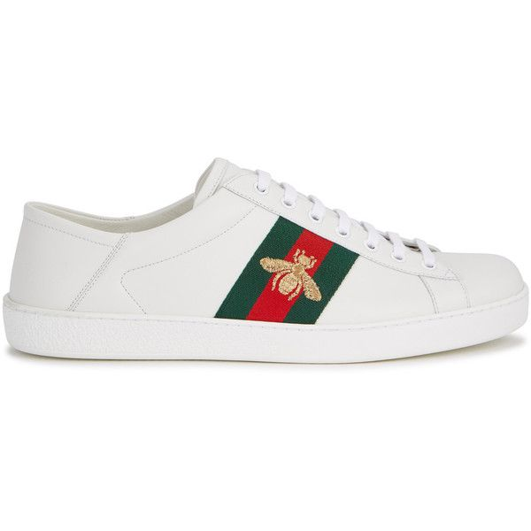 8937b98739f Gucci Ace Bee-embroidered Leather Trainers - Size 11 ( 485) ❤ liked on  Polyvore featuring men s fashion