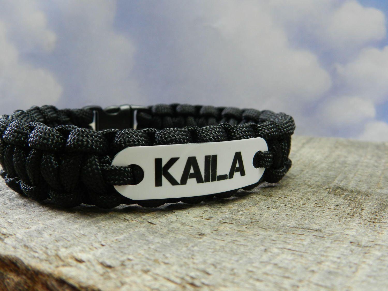 S Personalized Name Bracelet Kids Paracord Charm