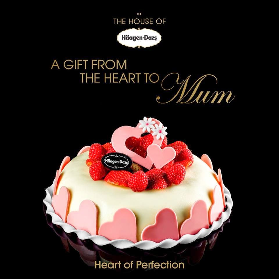 A gift from heart to mum at haagen dazs ice cream cake