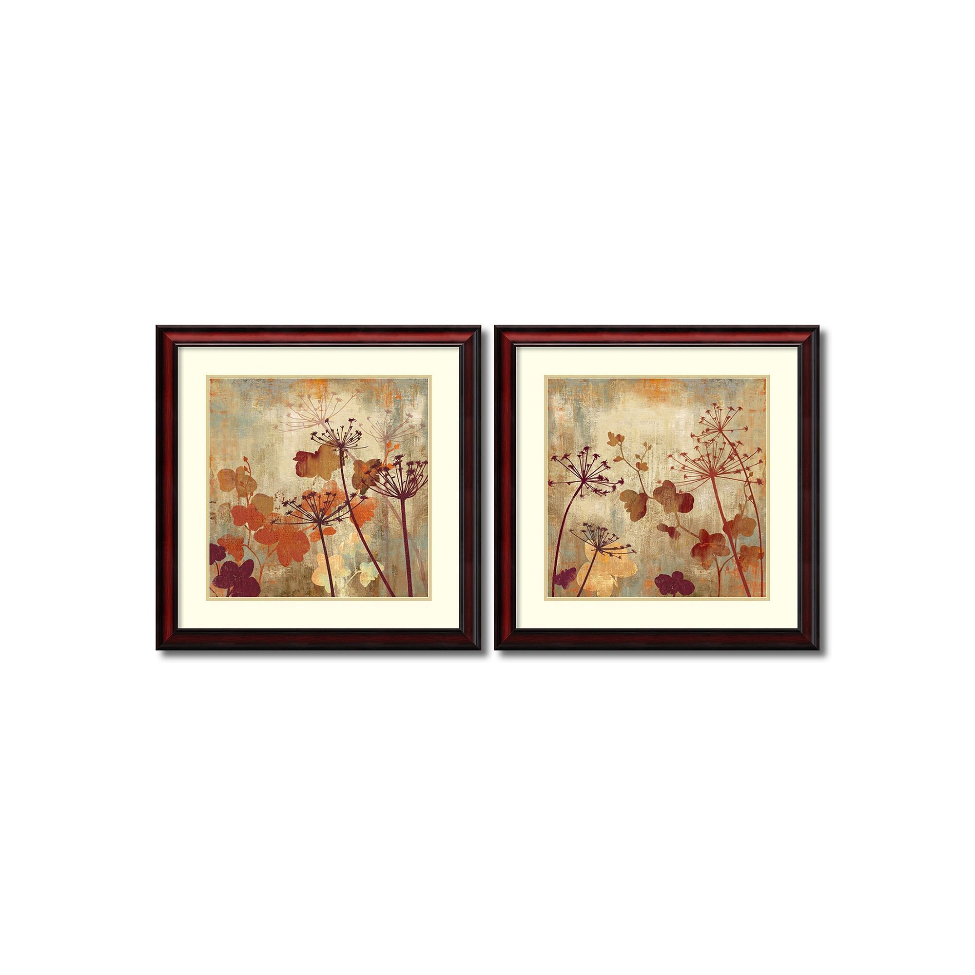 Wild Field\'\' Floral 2-piece Framed Wall Art Set, Brown | Products ...