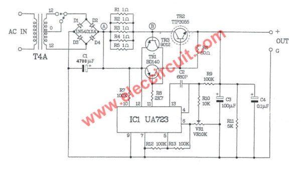 0-30V Variable Power Supply circuit Diagram at 3A