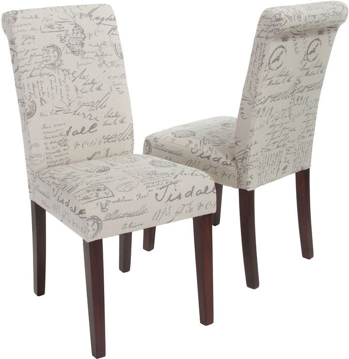 Crown Top French Script Beige Fabric Dining Chairs French