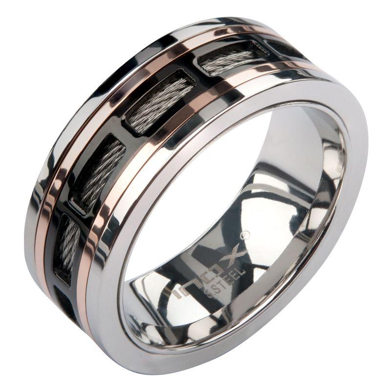 Inox Jewelry Stainless Steel Ip Rose Gold Black Men Rings Spinner