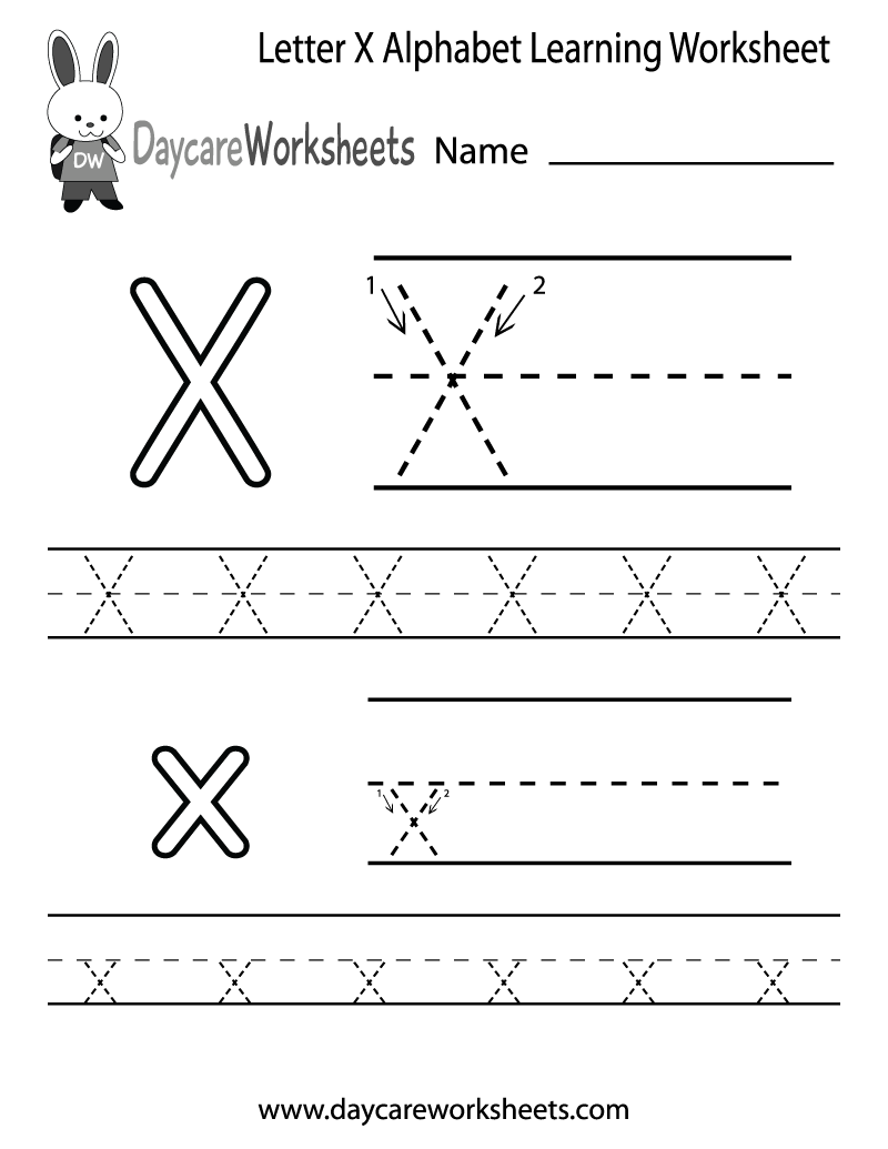 Free Letter X Alphabet Learning Worksheet for Preschool