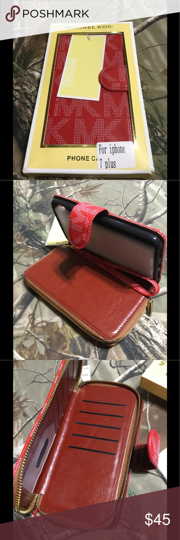 MK Phone case and wallet for iPhone 7 plus NWT MK phone case and wallet for iPhone 7 plus. Red color Michael Kors Accessories Phone Cases