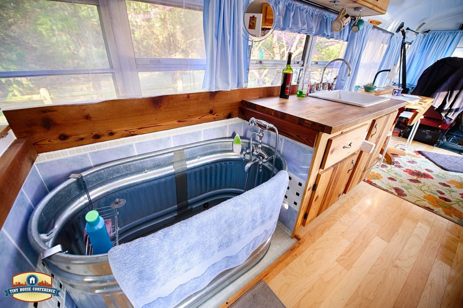 Just Right Bus: Living with a Water Trough Bathtub | School Bus ...
