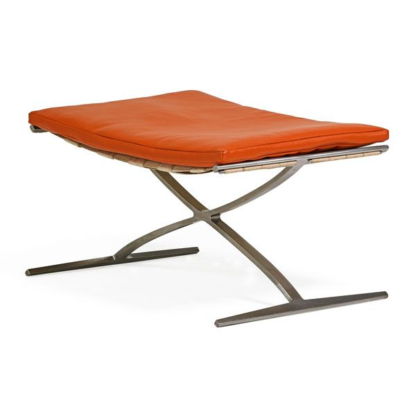 Preben Fabricius (1931-1984), Jorgen Kastholm (1931-2007), Ivan Schlechter, Stool, Denmark, 1960s, Leather, stainless steel, canvas | orange furniture design
