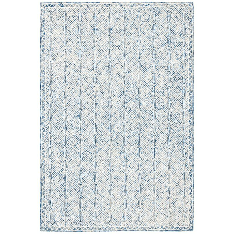 Hasad Geometric Handmade Tufted Wool Navy Ivory Area Rug In 2020 Rugs Area Rugs Rug Shapes