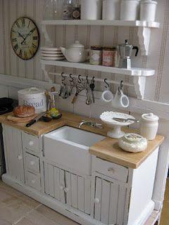 Gorgeous dollhouse kitchen, wood counter, mini s hooks, open shelves