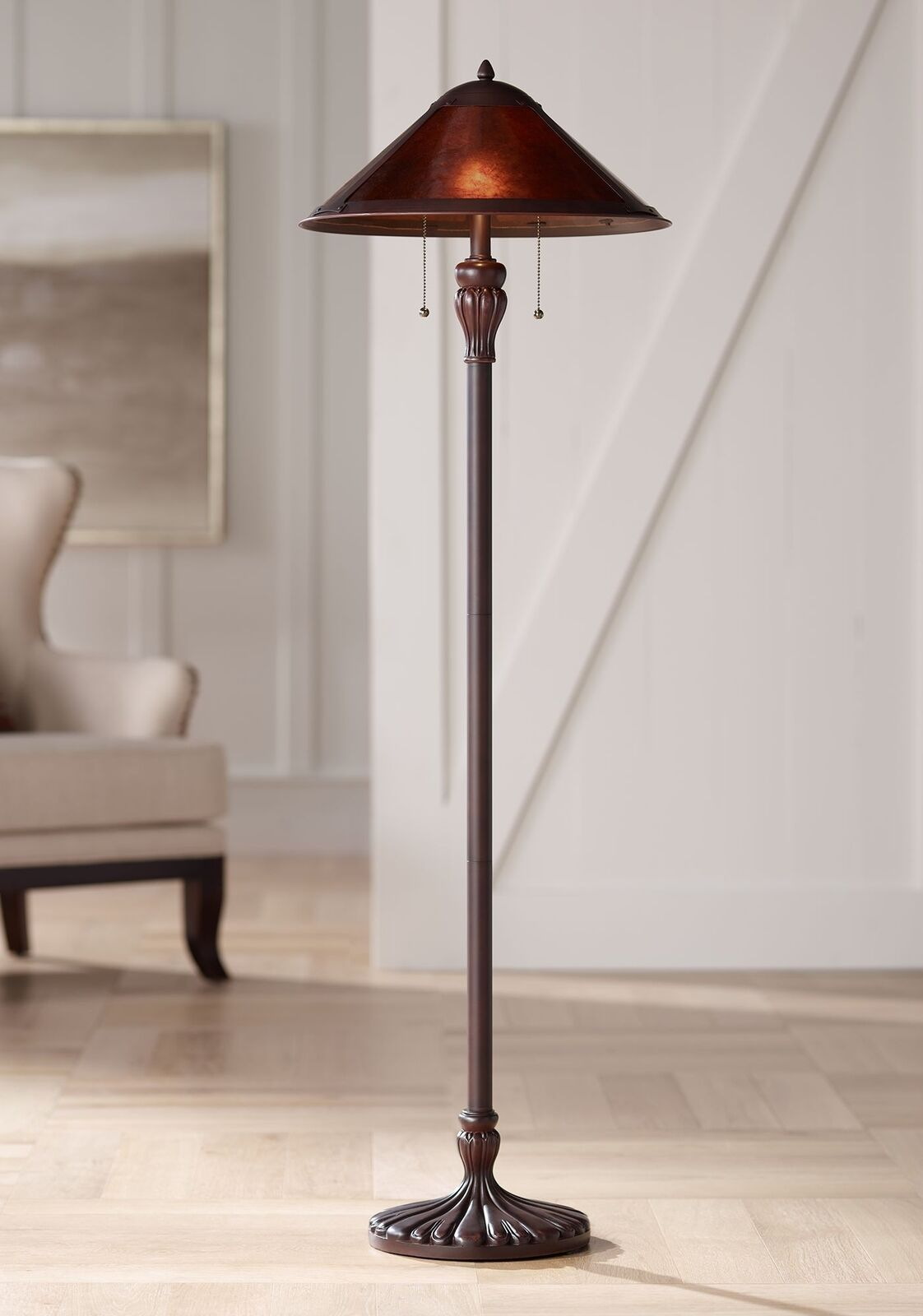 Details About Mission Floor Lamp Rustic Bronze Natural Mica Shade