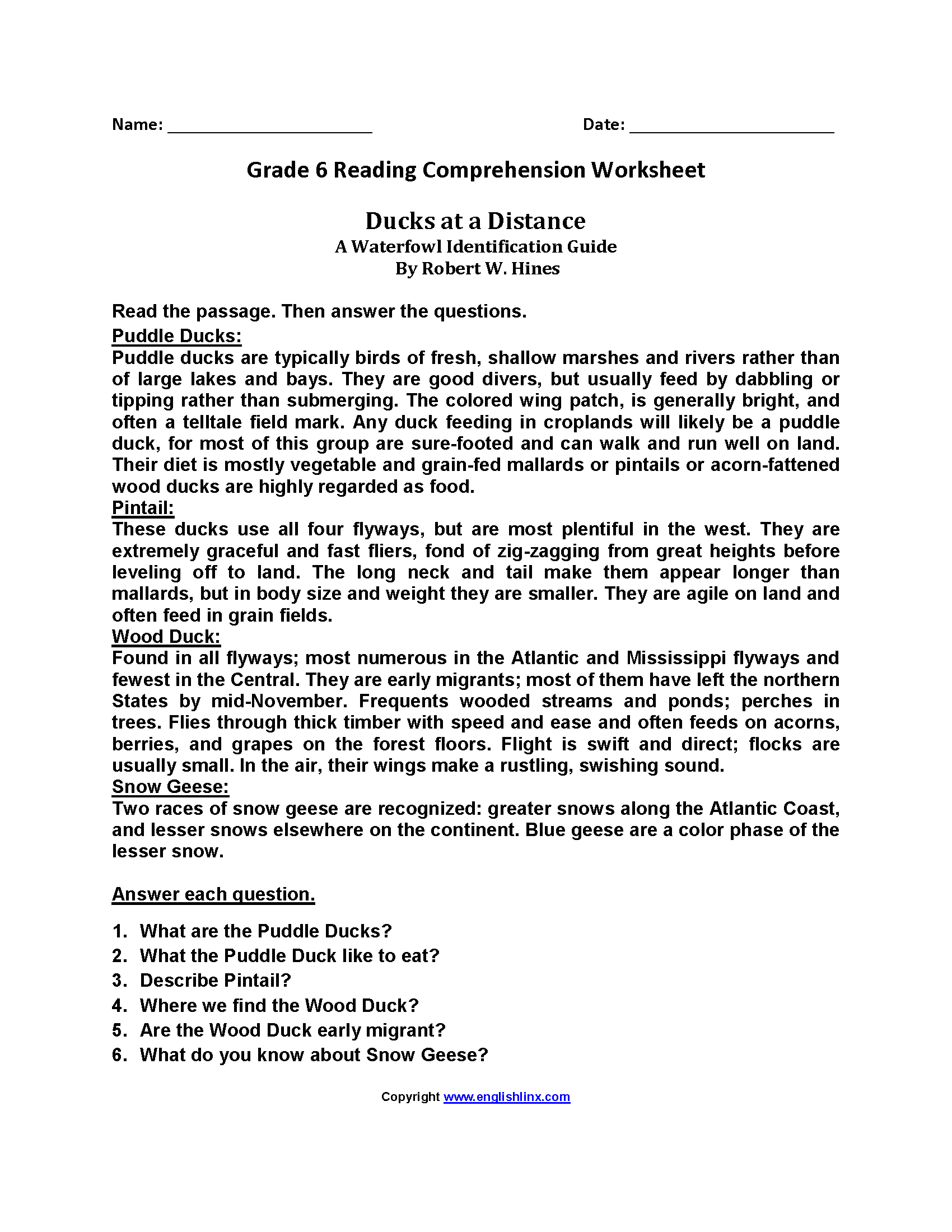 Ducks at a Distance\u003cbr\u003eSixth Grade Reading Worksheets   Reading comprehension  worksheets [ 2200 x 1700 Pixel ]