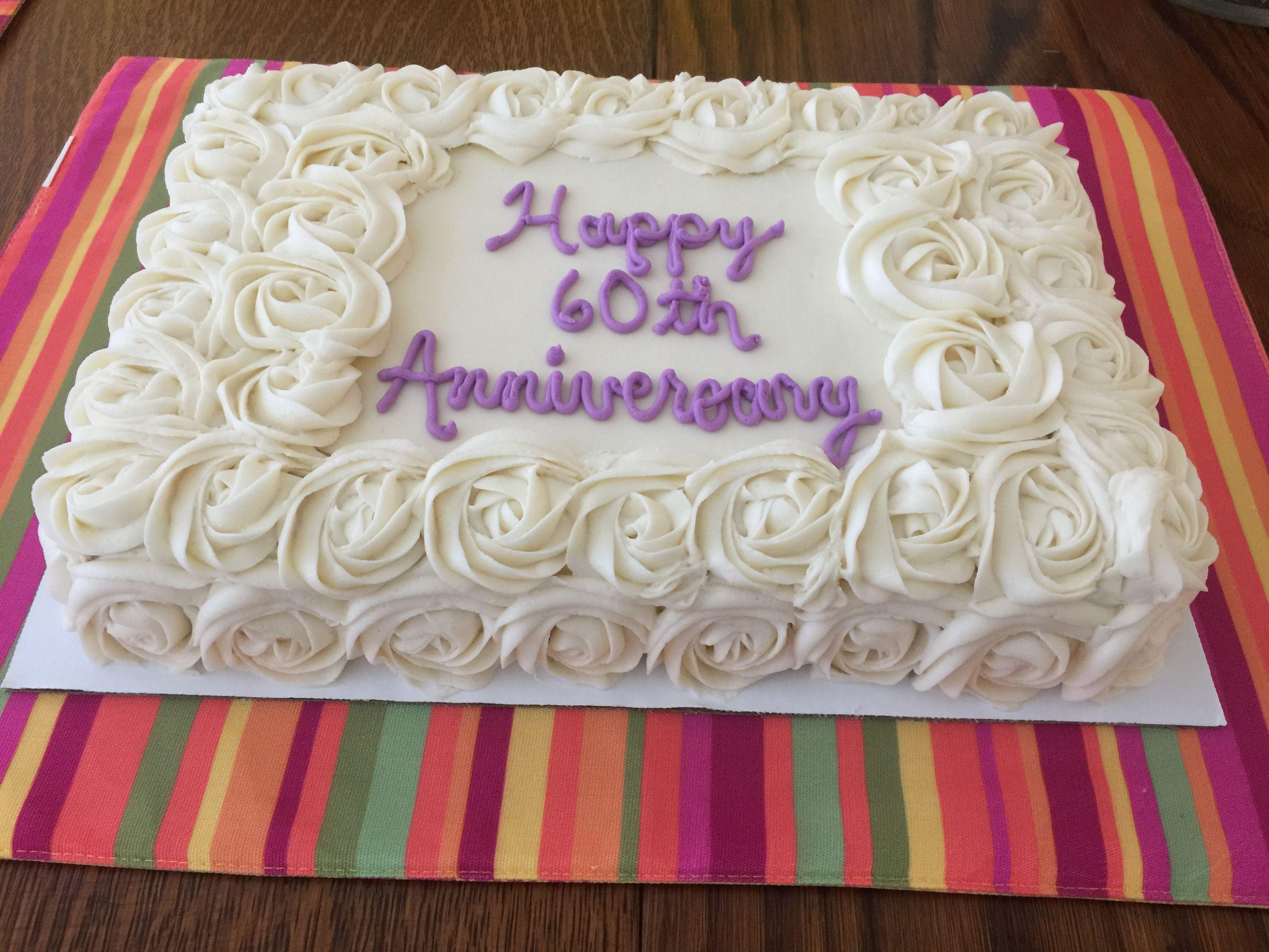Happy 60th Anniversary! 1/4 Sheet White Cake with Cream