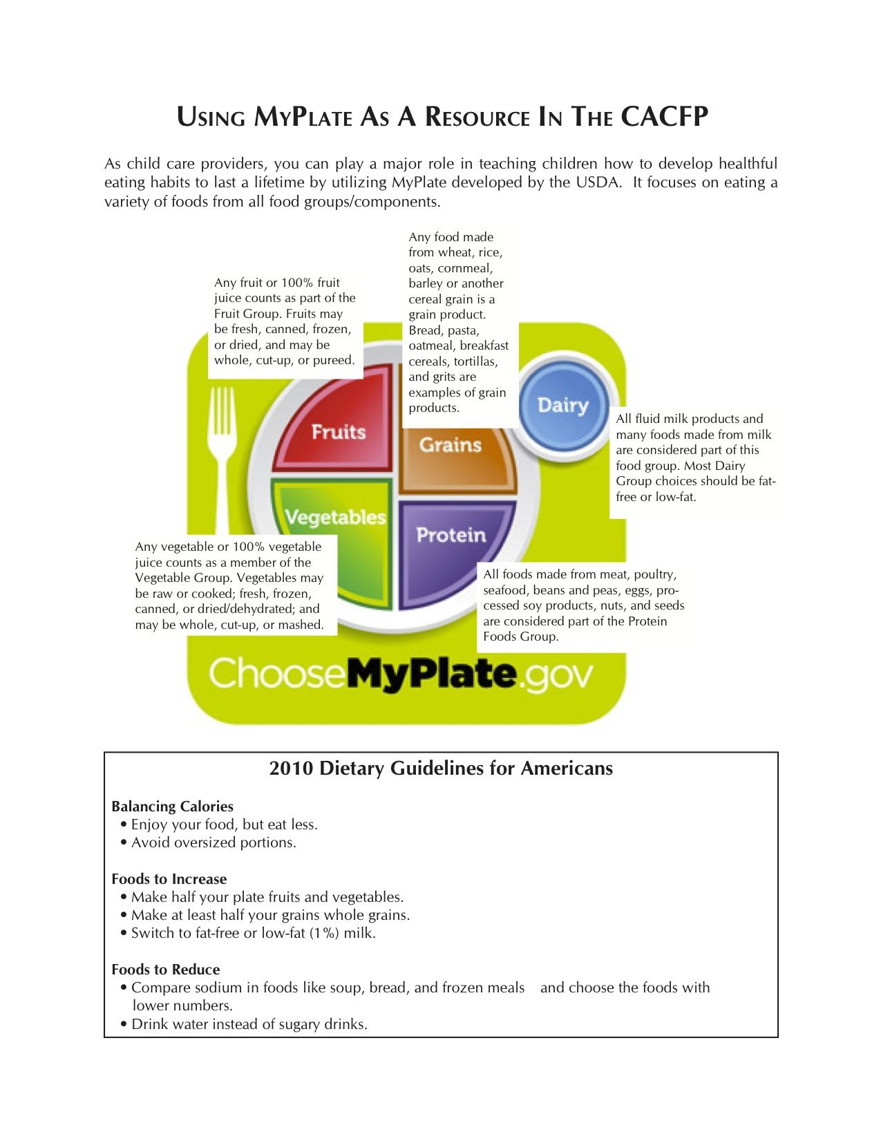 Heartland Child Nutrition Inc Usda Cacfp Meal Pattern