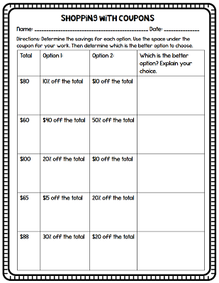 Percent Shopping Worksheet #mathintherealworld