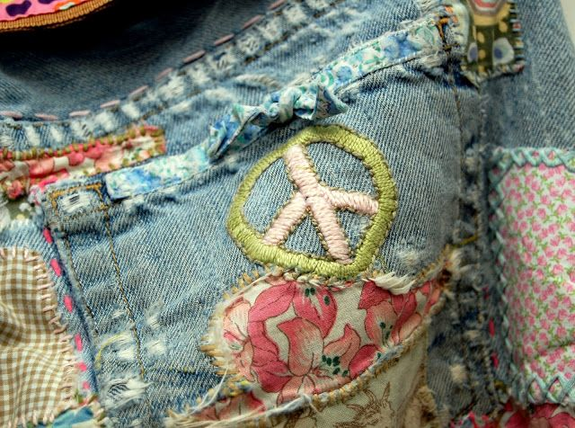 "Hippie ""peace maker"" embroidered and patched jeans"